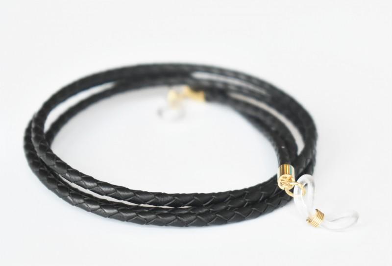 Glasögonsnöre – Läderrem 3 mm svart