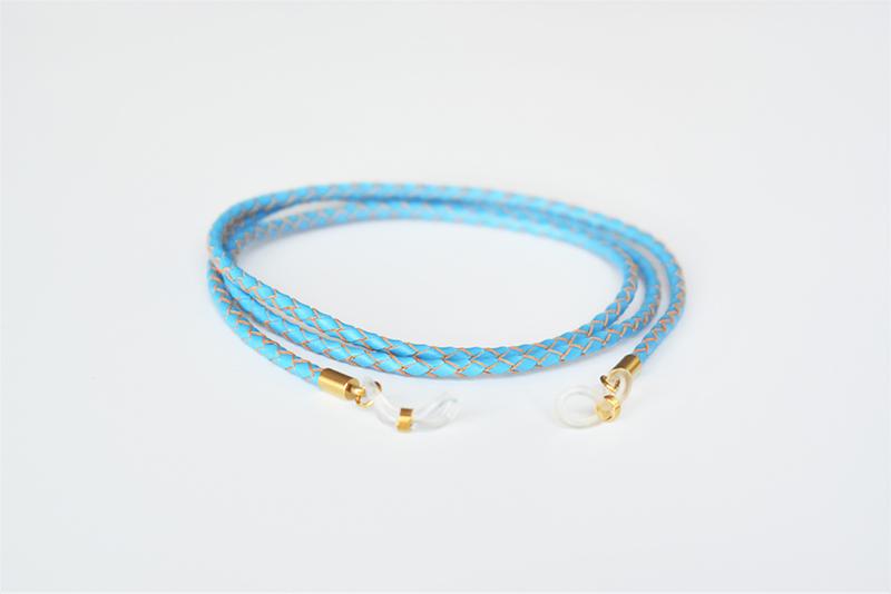 Glasögonsnöre – Läderrem 3 mm ljusblå