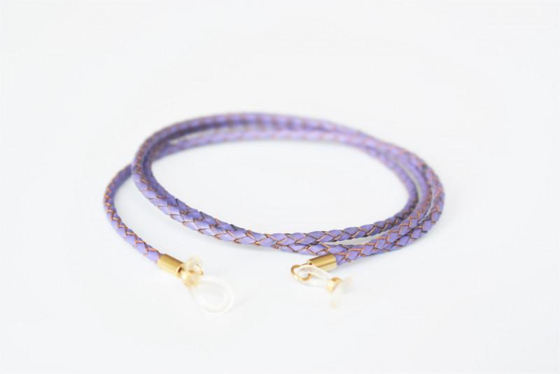 Glasögonsnöre – Läderrem 3 mm lila