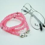 Glasögonsnöre med glaspärlor rosa