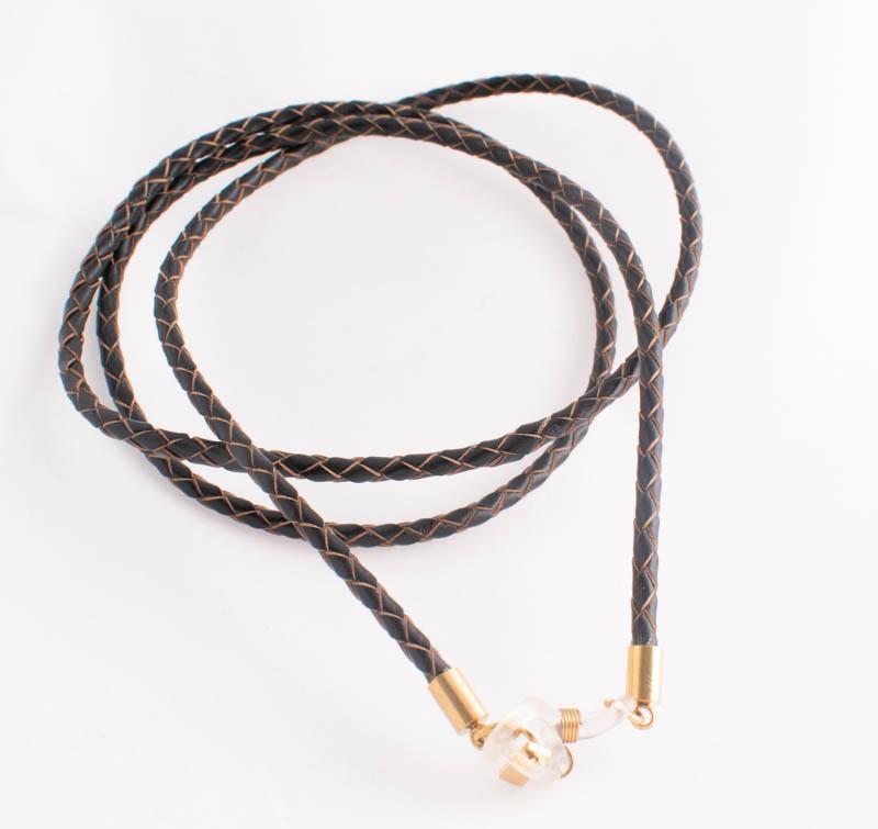 Glasögonsnöre – Läderrem 3 mm svart / brun