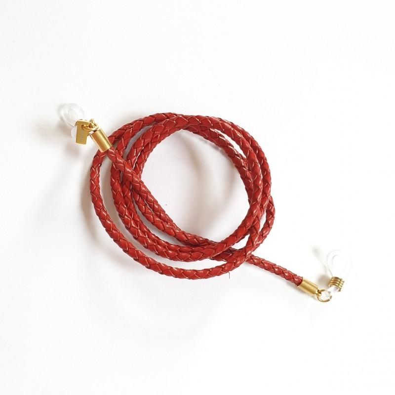 Glasögonsnöre – Läderrem 3 mm röd